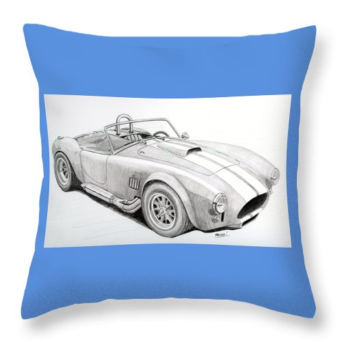 Ford Throw Pillow featuring the drawing Ac Ford Cobra With 427 by Rick Bennett