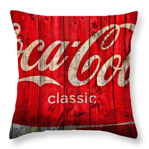 Coca Cola Classic Barn Throw Pillow featuring the photograph Coca Cola Barn by Dan Sproul