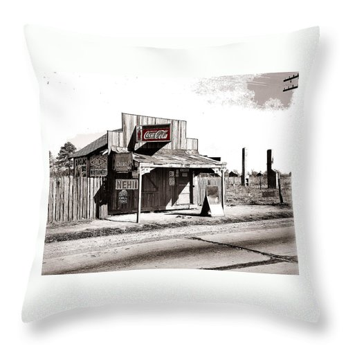 Coca-cola Shack Somewhere In Alabama Walker Evans Photo Farm Security Administration December 1935 Throw Pillow featuring the photograph Coca-cola Shack  Alabama Walker Evans Photo Farm Security Administration December 1935-2014 by David Lee Guss