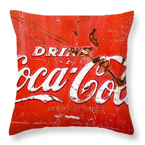 Coca-cola Sign Throw Pillow featuring the photograph Coca-Cola Sign by Jill Reger