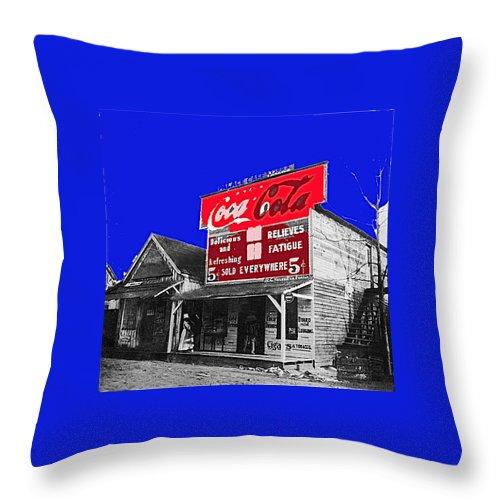Coca-cola Sign Palace Cafe Sumter South Carolina 1912 Throw Pillow featuring the photograph Coca-cola Sign Palace Cafe Sumter South Carolina 1912-2013  by David Lee Guss