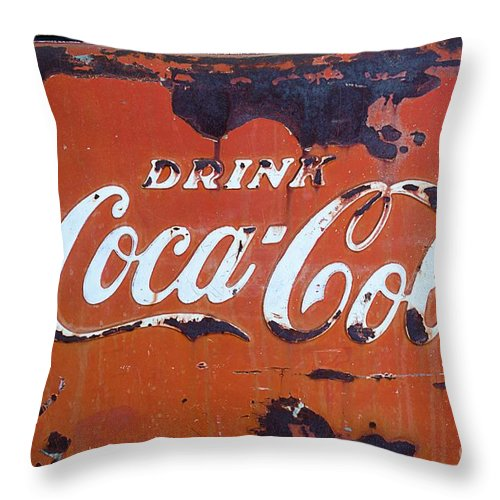 Coca-cola Throw Pillow featuring the photograph Cocacola Ice Box by Norma Warden
