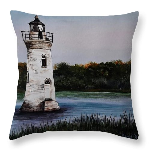 Tybee Island Throw Pillow featuring the painting Cockspur Sunset by Brad Hook