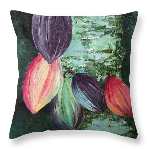 Cocoa On The Tree Throw Pillow featuring the painting Cocoa Pods by Karin Dawn Kelshall- Best