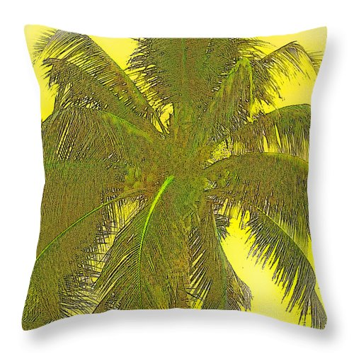 Yellow Throw Pillow featuring the digital art Coconut Palm by Ian MacDonald