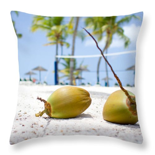 Antigua And Barbuda Throw Pillow featuring the photograph Coconuts by Ferry Zievinger