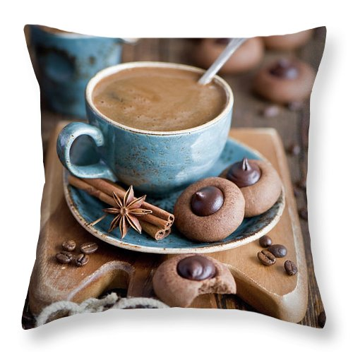 Temptation Throw Pillow featuring the photograph Coffee And Cookies by Verdina Anna