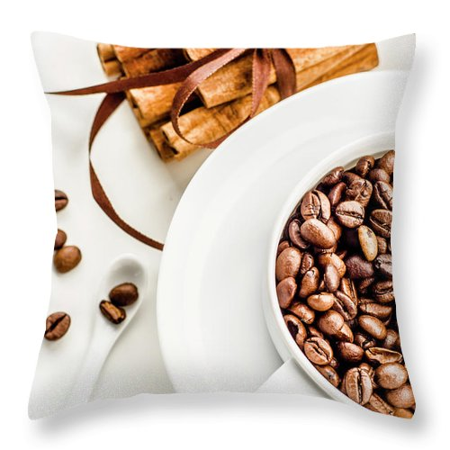 White Background Throw Pillow featuring the photograph Coffee Beans And Cinnamon by Olena Gorbenko Delicious Food