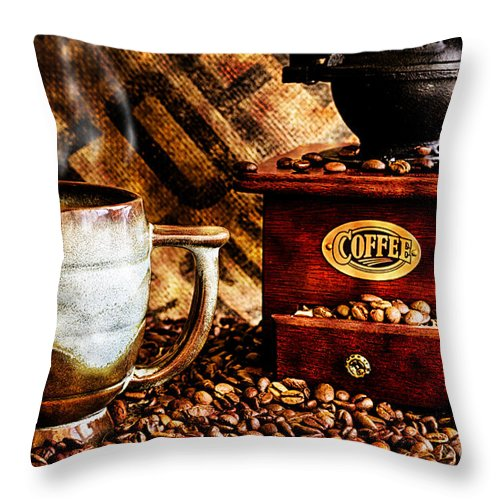 Coffee Throw Pillow featuring the photograph Coffee Beans And Grinder Closeup by Danny Hooks