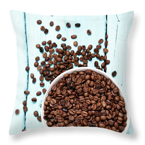 Heap Throw Pillow featuring the photograph Coffee Beans by Barcin