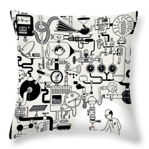 142340 Throw Pillow featuring the painting Coffee Break by Christoph Niemann