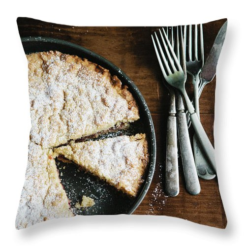 Kitchen Knife Throw Pillow featuring the photograph Coffee Cake In Rustic Pan With Forks by Alina Spradley