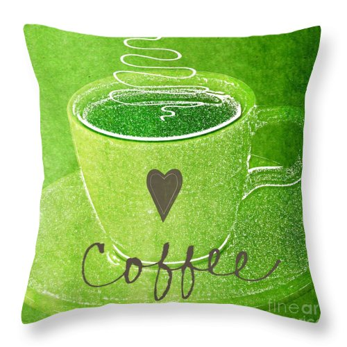 Espresso Throw Pillow featuring the painting Coffee by Linda Woods