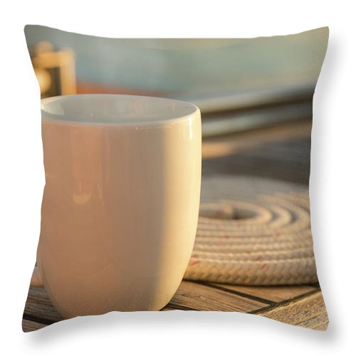 Sailboat Throw Pillow featuring the photograph Coffee Or Tea Cup On 62 Foot Sailboat by Gary S Chapman