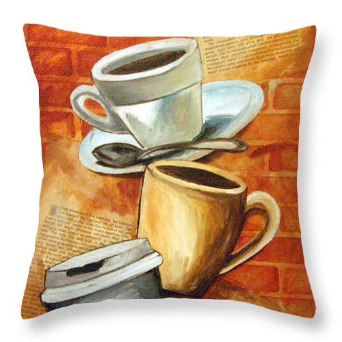 Coffee Throw Pillow featuring the painting Coffee Over Shannara by Annette Redman