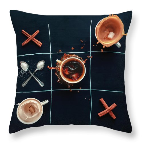 Milk Throw Pillow featuring the photograph Coffee Tic-tac-toe by Dina Belenko Photography