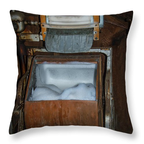 Antique Throw Pillow featuring the photograph Coffield Washer by Robert Bales