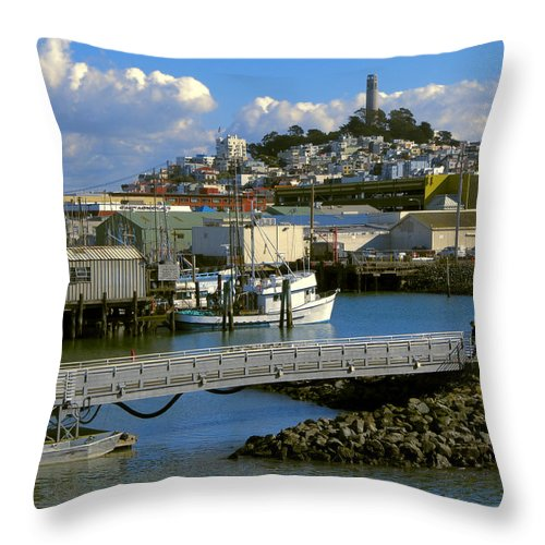 san Francisco Throw Pillow featuring the photograph Coit Tower And Marina - San Francisco by Daniel Hagerman