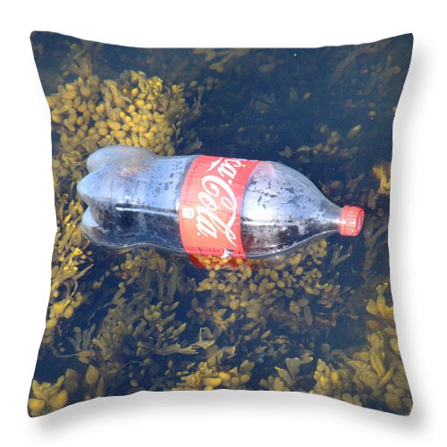 Boston Throw Pillow featuring the photograph Coke Among The Seaweed by Caroline Stella