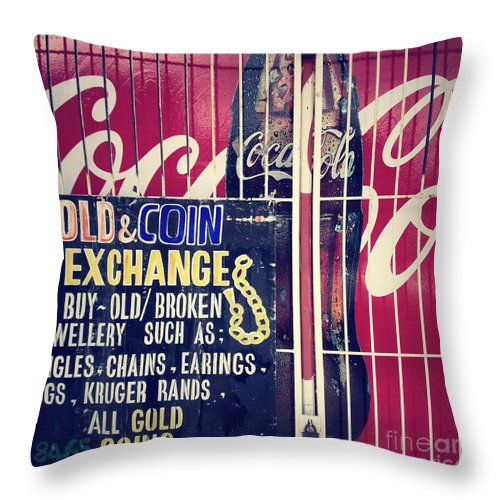Coke Throw Pillow featuring the photograph Coke And Gold by Neil Overy