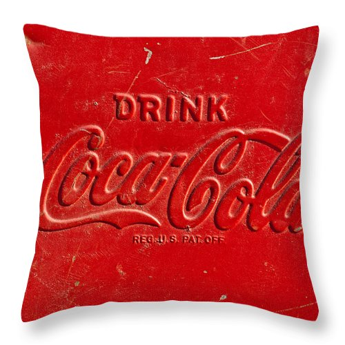 Coke Throw Pillow featuring the photograph Coke Sign by Jill Reger