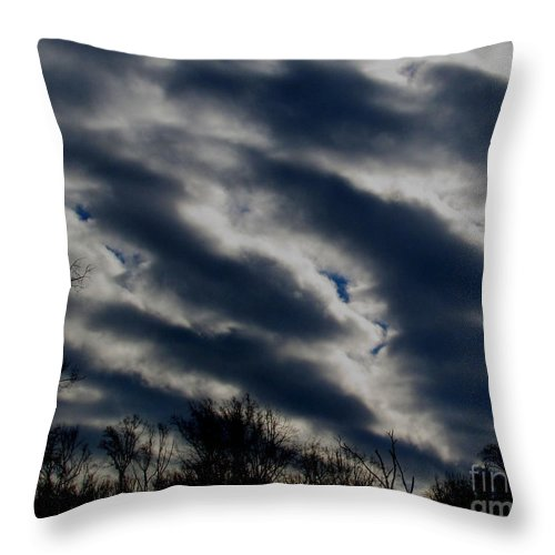 Cold Cloudscapes Winterscape Winter Clouds Winter Weatherscape Cold Front Winter Weather Chilly Clouds Winter Storm Clouds Throw Pillow featuring the photograph Cold Cloudscape by Joshua Bales