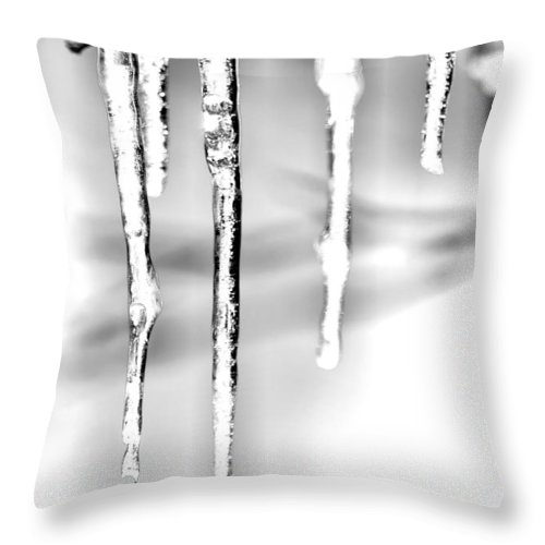 Icicles Throw Pillow featuring the photograph Cold Glistening Icicles by Larry Jost
