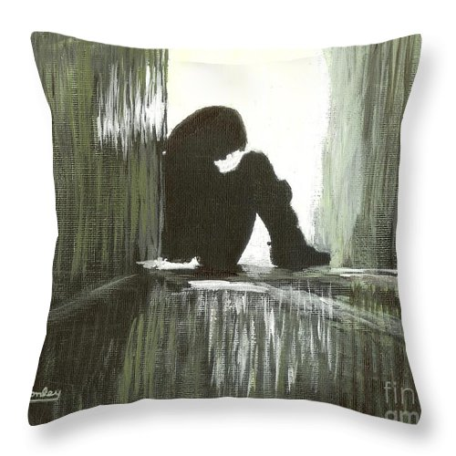 Corridor Throw Pillow featuring the painting Cold Light Of Day by Ian Donley