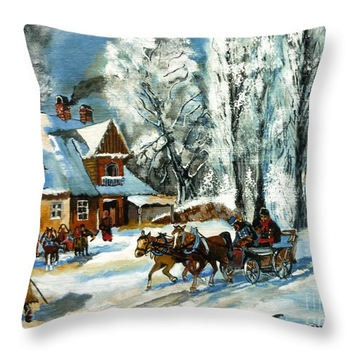 Cold Morning Throw Pillow featuring the painting Cold Morning by Ryszard Sleczka
