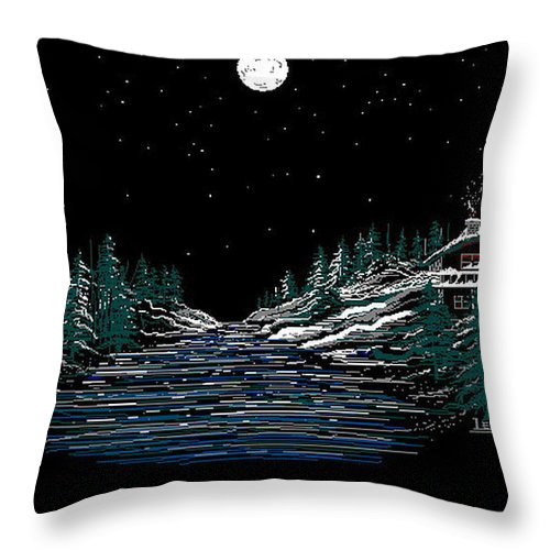 Cold Mountain Winter Throw Pillow featuring the digital art Cold Mountain Winter by Larry Lehman