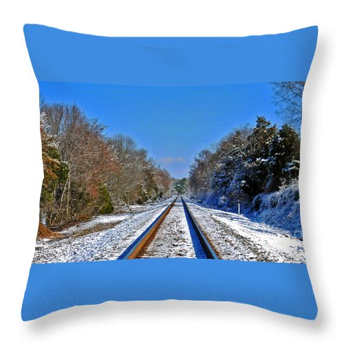 Railroad Tracks In Winter Throw Pillow featuring the photograph Cold Tracks by Lydia Holly