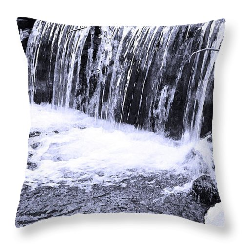 Dry Brush Throw Pillow featuring the photograph Cold Winter Falls by Mary Anne Williams