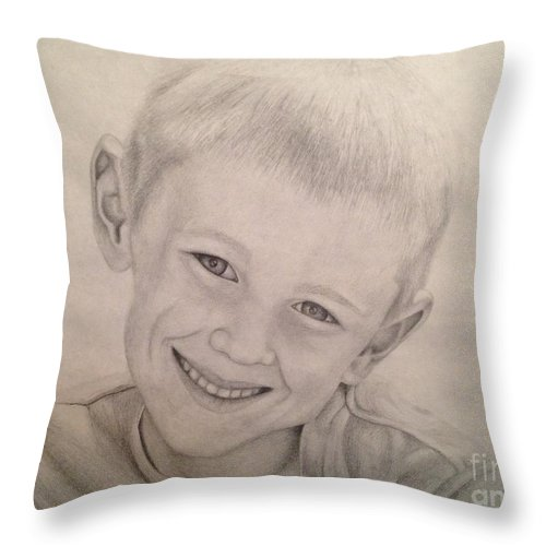Cole Throw Pillow featuring the drawing Cole by Emily Young