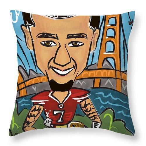 Digital Throw Pillow featuring the digital art Colin Kaepernick - Achievement by Micheleh Center
