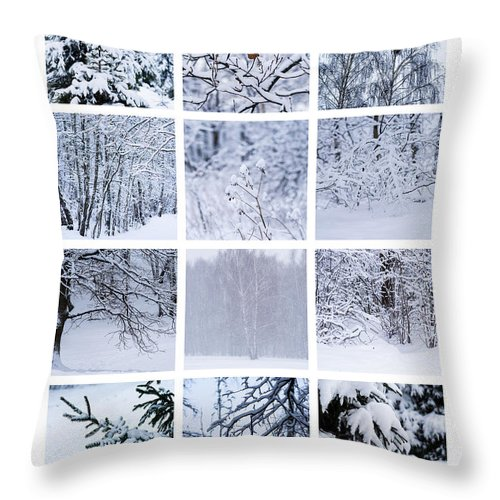 Abstract Throw Pillow featuring the photograph Collage January - Featured 3 by Alexander Senin