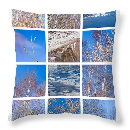 Abstract Throw Pillow featuring the photograph Collage March - Featured 3 by Alexander Senin