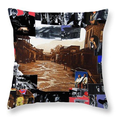 Collage Old Tucson Arizona 1967-1971-2012 Throw Pillow featuring the photograph Collage Old Tucson Arizona 1967-1971-2012 by David Lee Guss