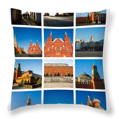 Architecture Throw Pillow featuring the photograph Collage - Red Square In The Morning by Alexander Senin