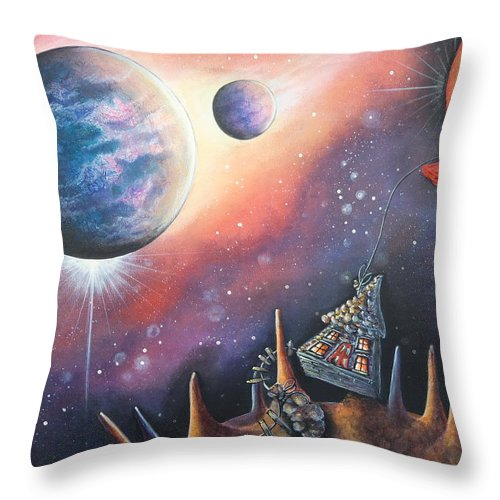 Planets Throw Pillow featuring the painting Collecting Cheese by Krystyna Spink