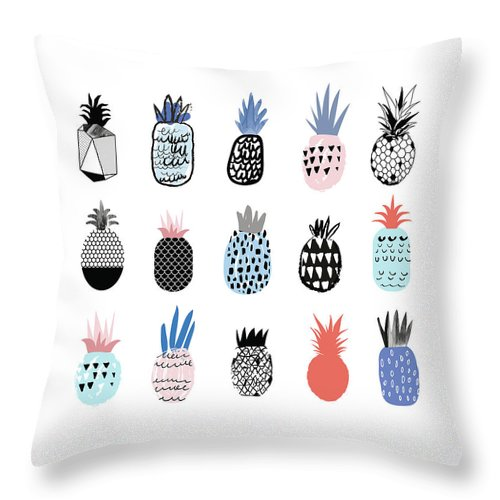 Art Throw Pillow featuring the digital art Collection Of Cute Pineapples With by Loliputa