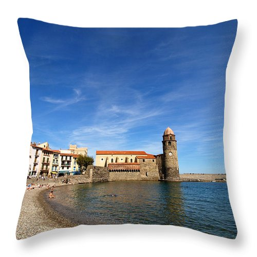 Collioure Throw Pillow featuring the photograph Collioure Beach And Bell Tower by Valerie Mellema
