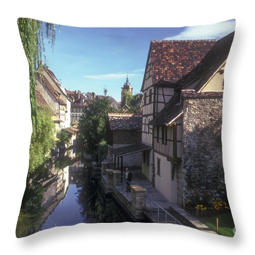 Colmar France Cannel Cannels Waterway Waterway Water House Houses Tree Trees City Cities Cityscape Cityscapes Landscape Landscapes Throw Pillow featuring the photograph Colmar Cannel by Bob Phillips