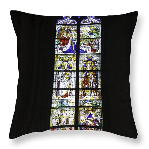 Cologne Cathedral Throw Pillow featuring the photograph Cologne Cathedral Stained Glass Window Coronation Of The Virgin by Teresa Mucha