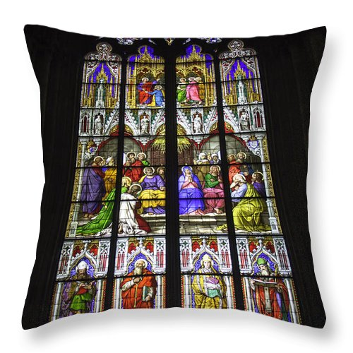 Cologne Cathedral Throw Pillow featuring the photograph Cologne Cathedral Stained Glass Window Of Pentecost by Teresa Mucha