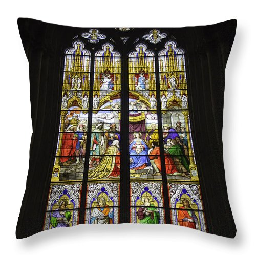 Cologne Cathedral Throw Pillow featuring the photograph Cologne Cathedral Stained Glass Window Of The Adoration Of The Magi by Teresa Mucha