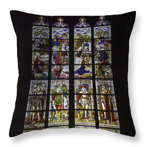 Cologne Cathedral Throw Pillow featuring the photograph Cologne Cathedral Stained Glass Window Of The Nativity by Teresa Mucha