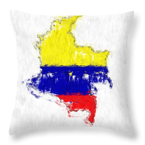 Colombia Throw Pillow featuring the painting Colombia Painted Flag Map by Antony McAulay