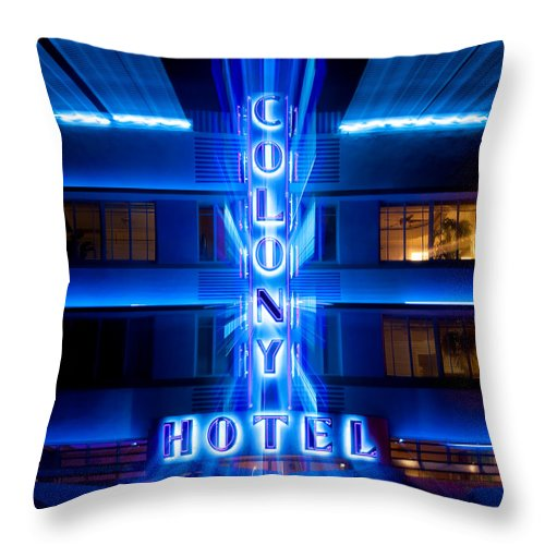 Colony Hotel Throw Pillow featuring the photograph Colony Hotel 2 by Dave Bowman