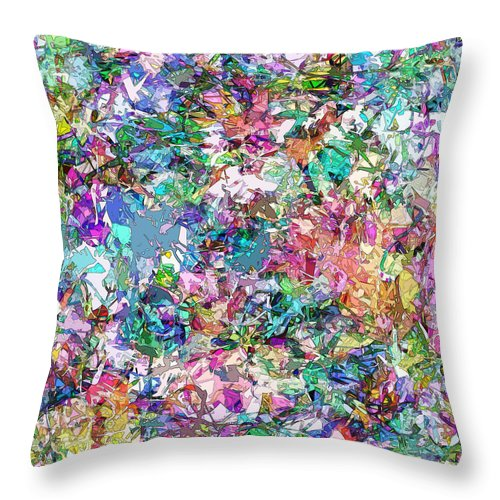Color Throw Pillow featuring the digital art Color Filled Abstract by Phil Perkins