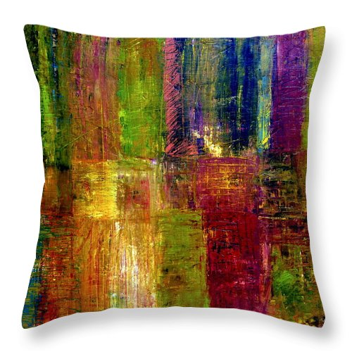 Abstract Throw Pillow featuring the painting Color Panel Abstract by Michelle Calkins